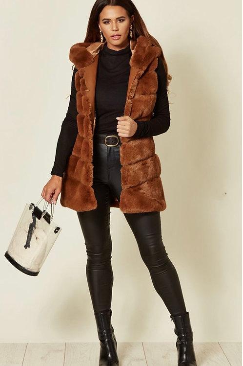 Tan Faux Fur Long Length Hooded Gilet