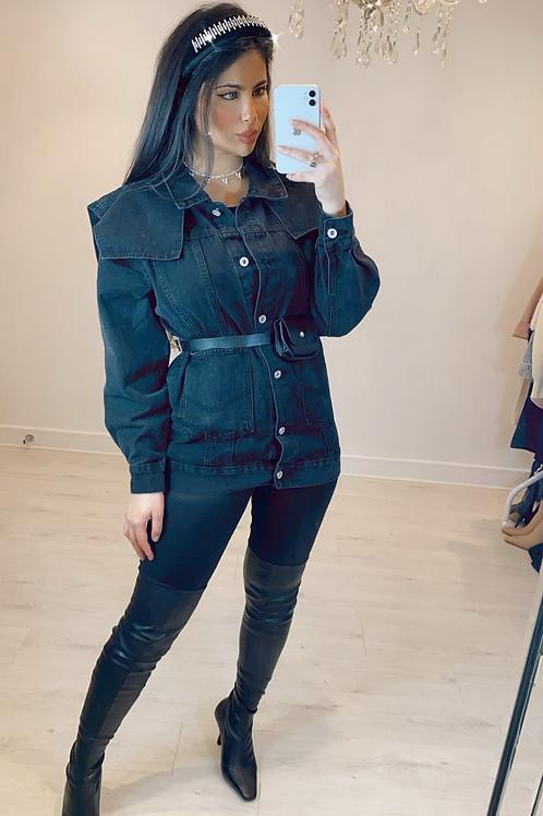 Black Exaggerated Shoulder Denim Jacket With Detachable Mini Belt Bag