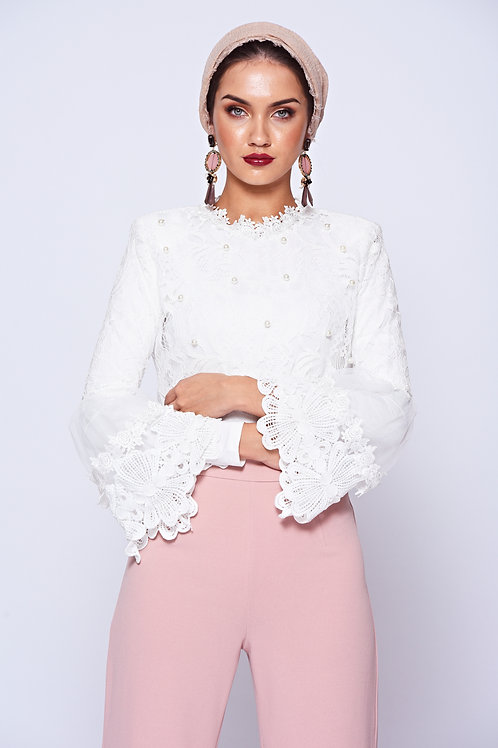 White Pearl Embellished Lace Crop Top