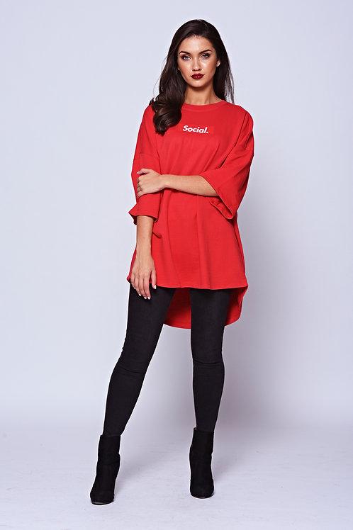 'Social' Red Logo Oversized Tee