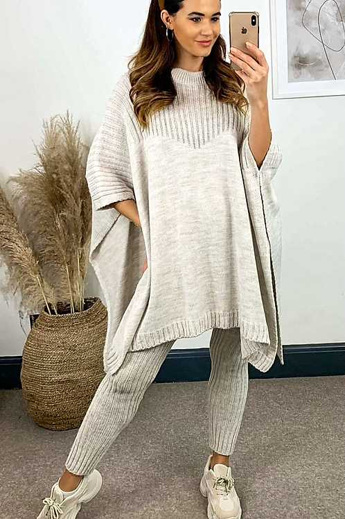 Oatmeal Knitted Oversized Cape Finish Jumper and Knit Leggings Set