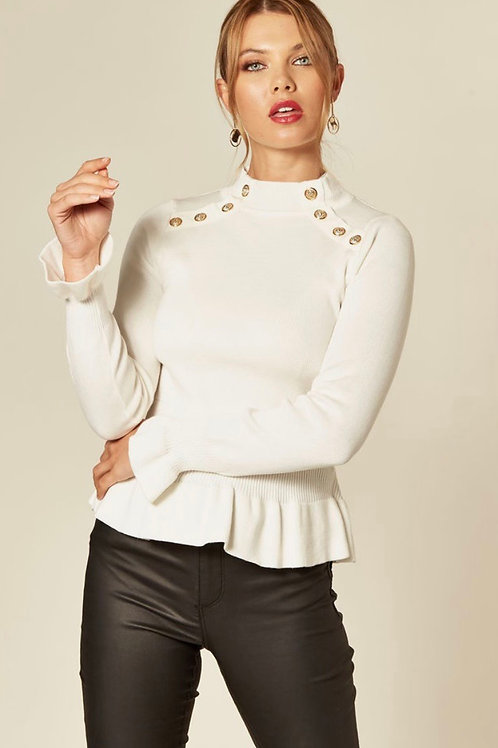 Cream Fitted Jumper With Ruffle Hem, Cuffs And Gold Buttons