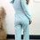 Thumbnail: Mint Corset Style Short Hoodie With Straight Leg Jogger Set