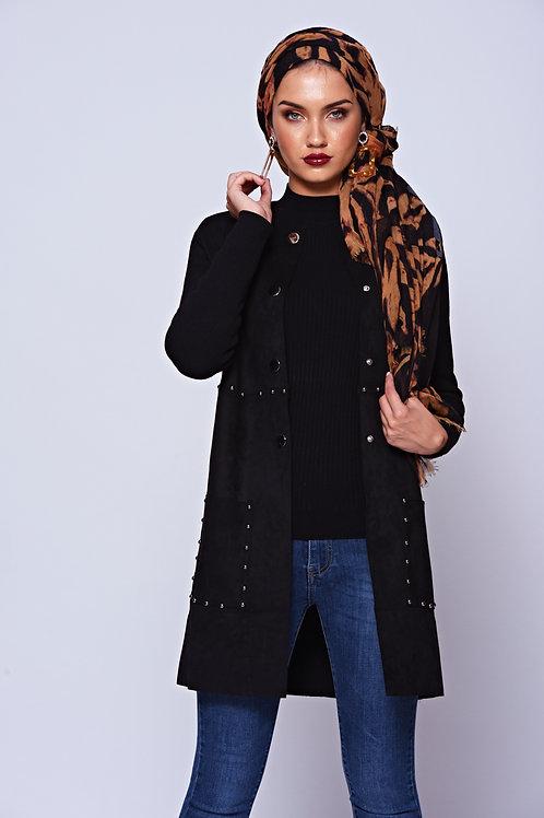 PREMIUM Black Suedette Studded Coat