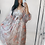 Thumbnail: Ivory Fully Lined Chiffon Floral Maxi Dress With Balloon Sleeves And Belt
