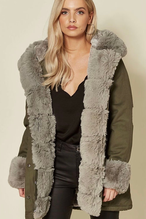 Khaki Parka Coat With Detachable Faux Fur Hood & Cuffs & Fully Lined Inner Body