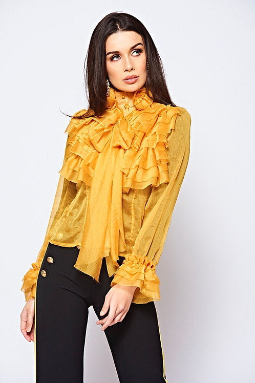 Mustard High Neck Frilled Sheer Chiffon Blouse With Front Tie Fastening