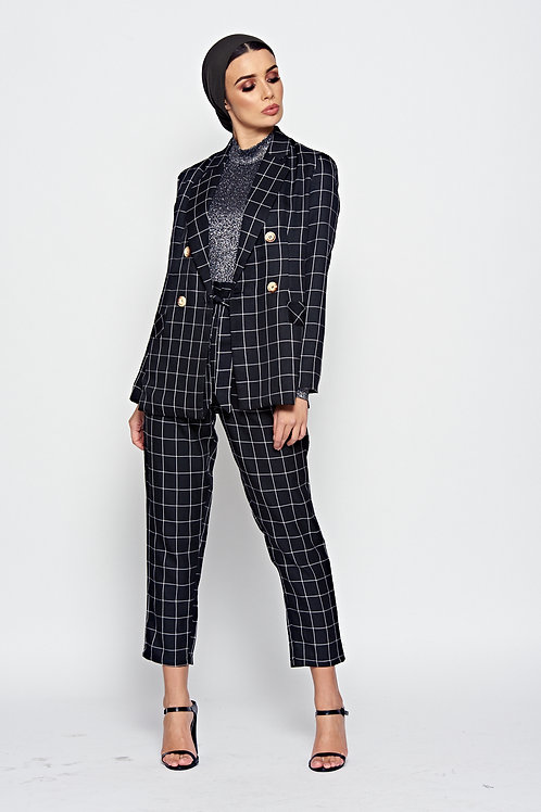 Black Check Paper Bag Waist Trousers