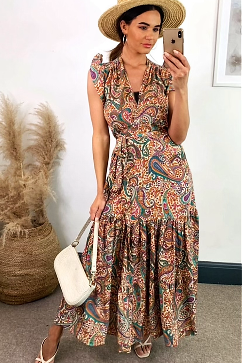 Multi Colour Paisley Wrap Over Maxi Dress With Short Frill Sleeve & Belt Detail