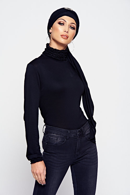 Black Ruffle Neck Jersey Long Sleeve Top With Ruffle Cuffs