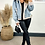 Thumbnail: Light Wash Denim Jacket With Buckled Neck Fasten And Grey Fur Lining And Trims