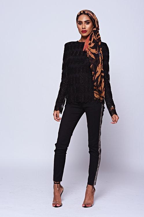 Black Beaded Side Panel Pant