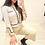 Thumbnail: Beige Long Sleeve Contrast Trim Short Cardigan With Wide Pants