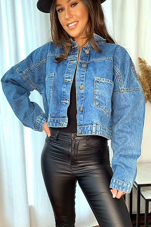 Cropped Mid Wash Denim Jacket With Buttons Down Front and Back