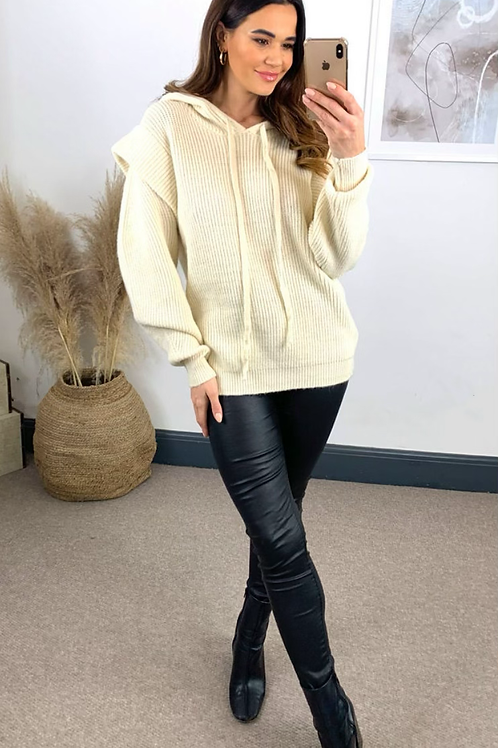 Cream Knitted Hoodie With Exaggerated Shoulder Detail