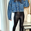 Thumbnail: Cropped Mid Wash Denim Jacket With Buttons Down Front and Back