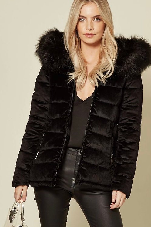 Black Velvet Touch Hooded Puffa Jacket With Detachable Faux Fur Trim