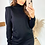 Thumbnail: Black Knitted Fine Gauge Long Sleeve Top With Ribbed High Neck and Cuffs