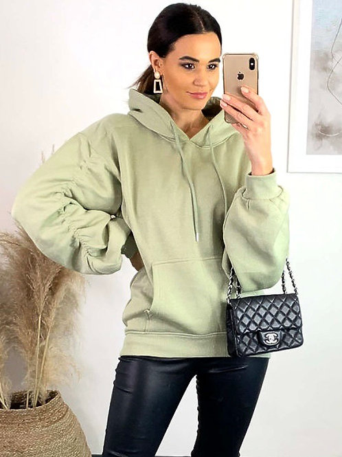 Mint Oversized Ruched Sleeve Hoodie