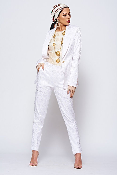 White Patterned Tailored Luxe Suit
