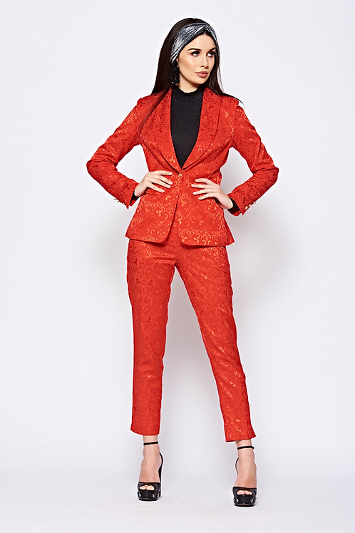 Red Patterned Tailored Luxe Suit