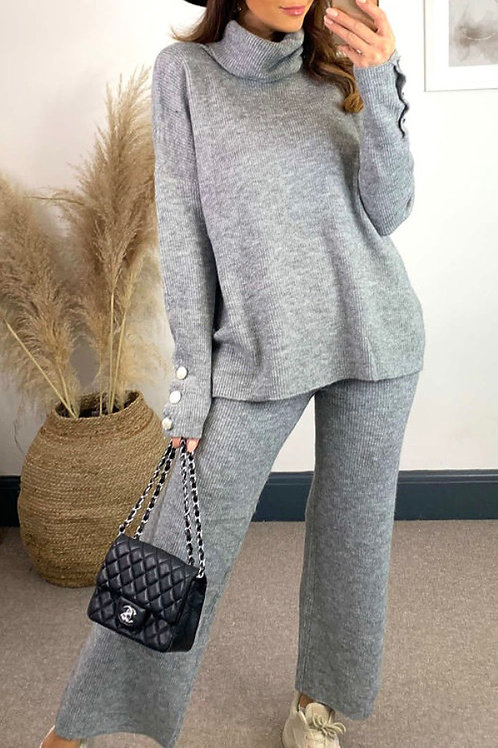 Grey Knitted High Neck Jumper With Jewel Cuff And Straight Leg Trousers
