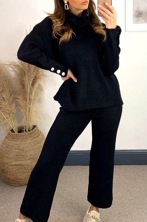 Black Knitted High Neck Jumper With Jewel Cuff And Straight Leg Trousers