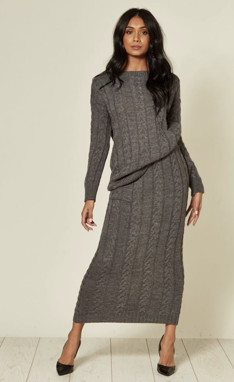 Grey Cable Knit Pocket Skirt and Jumper Coord