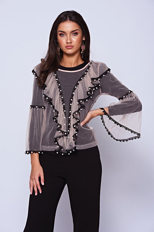 Pink Sheer Pearl Embellished Blouse With Black Lace Trim