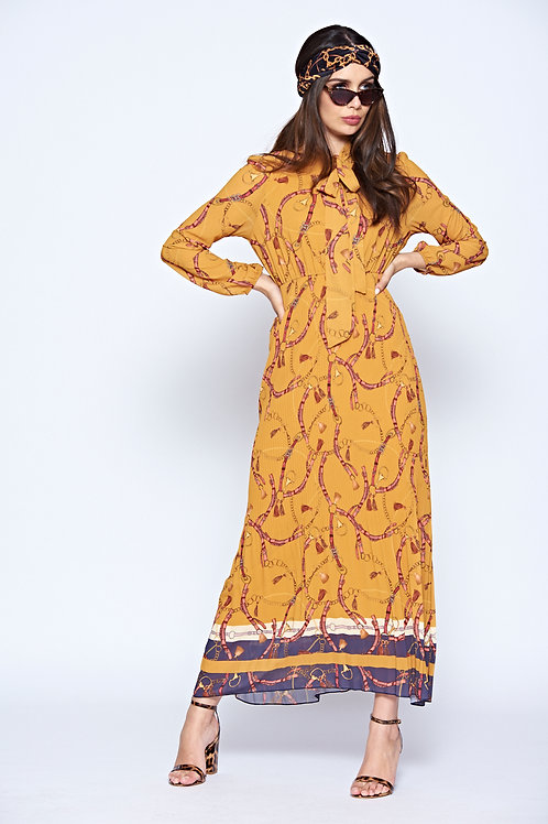 Mustard Chain Print Maxi Dress With Tie Neck, Pleated Skirt And Elasticated Cuff
