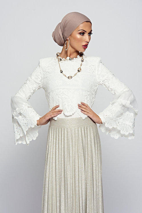 White Lace Crop Top With Fluted Sleeves