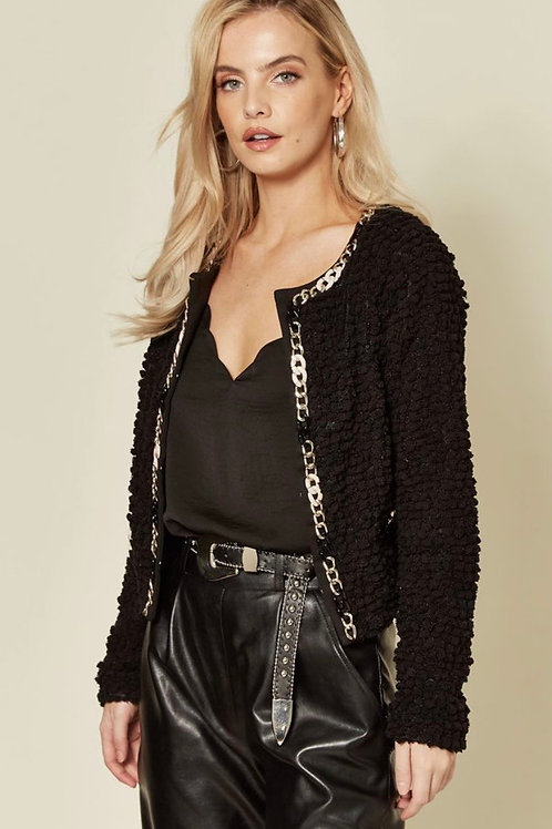 Black Soft Velvet Touch Bobble Knit Fully Lined Cardigan With Chain Detail Trim