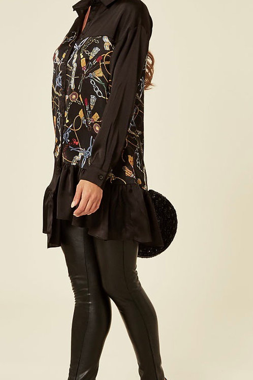 Black Satin Feel Shirt With Chain Print And Asymmetric Ruffle Hem