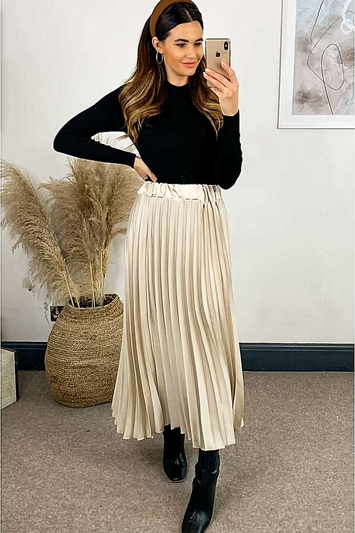 Champagne Pleated Maxi Skirt