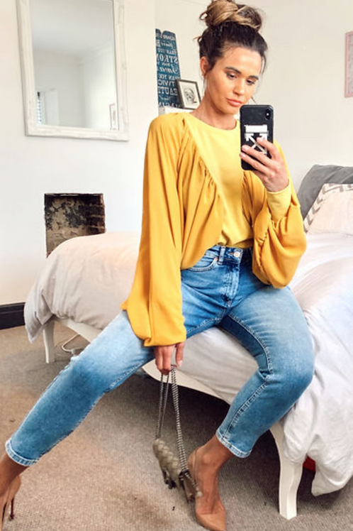 Mustard Blouse With Batwing Sleeves