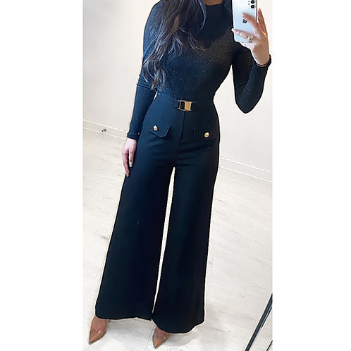 Premium Black High Waisted Wide Leg Trousers With Gold Buckle And Gold Button De