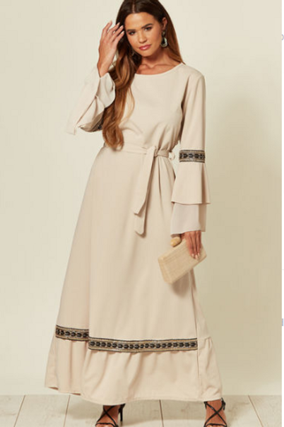 Beige Maxi Dress With Belt Fastening, Fluted Sleeve And Applique Detailed Trims