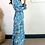 Thumbnail: Blue Paisley Satin Tiered Maxi Dress With Elasticated Cuff & Tie Waist