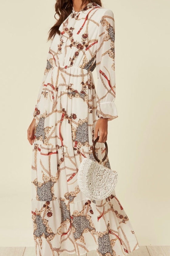 White Gypsy Style Chain Print Maxi Dress With Tie Neck