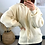 Thumbnail: Cream Knitted Hoodie With Exaggerated Shoulder Detail