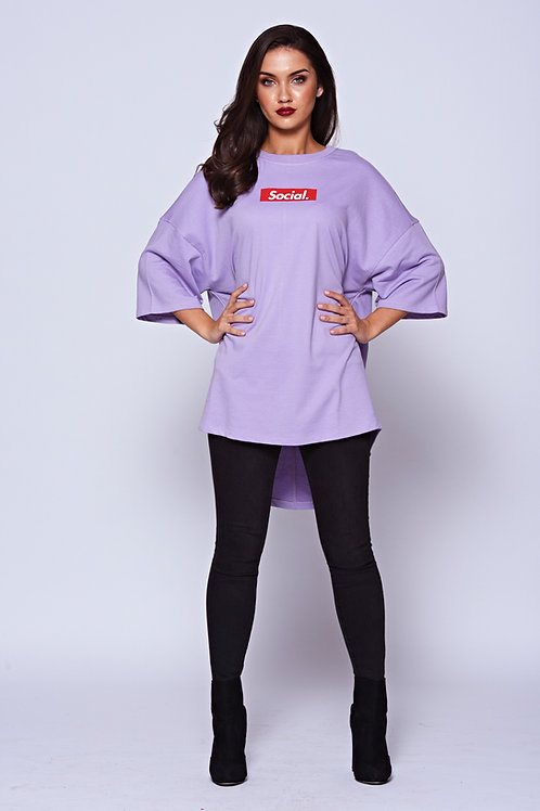'Social' Lilac Logo Oversized Tee