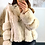 Thumbnail: Cream Faux Leather Biker Jacket With Faux Fur Paneled Trims