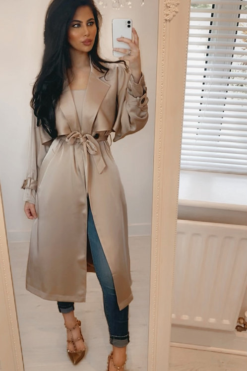 Taupe Satin Look Duster Coat With Belt Fastening and Belted Cuffs
