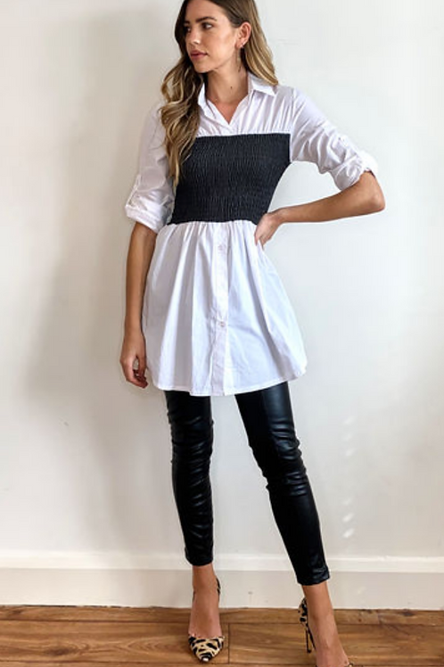 White Roll Back Long Length Shirt with Contrast Elastic Waist
