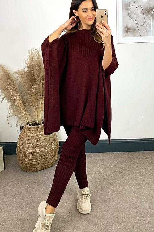 Burgundy Knitted Oversized Cape Finish Jumper and Leggings Set