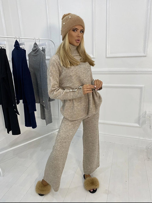 Oatmeal Knitted High Neck Jumper With Jewel Cuff And Straight Leg Trousers
