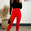 Thumbnail: Red High Waisted Stretch Straight Leg Trousers With Contrasting Black Buttons