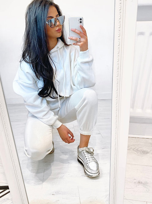 Premium White Crop Hoodie and Joggers With Elasticated Waist and Cuff
