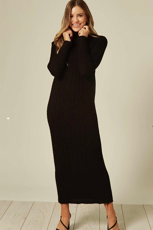 Black Long Sleeve Knitted Maxi Dress With High Neck