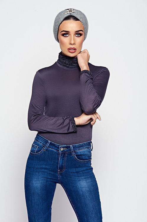 Steel Grey Ruffle Neck Jersey Long Sleeve Top With Ruffle Cuffs